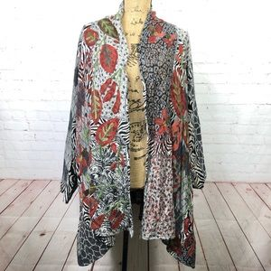 Soft Surroundings Mixed Print Embroidered Cardigan